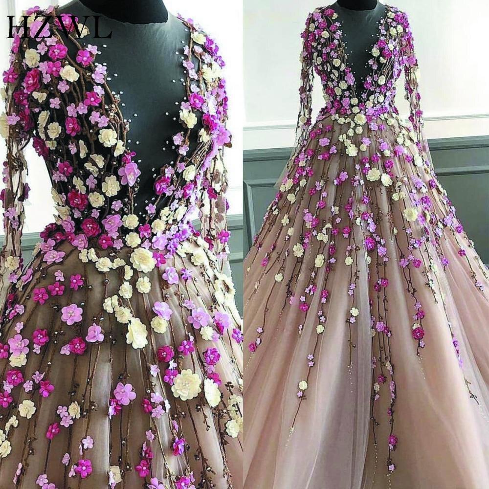 Elegant 3D Handmade Flowers Beaded Prom Dresses 2020 Long Sleeve Sheer Neck Robe De Soiree Evening Dresses Long שמלות ארוכות