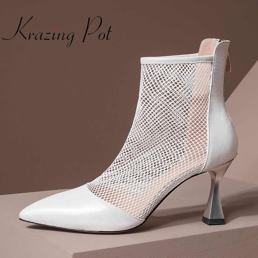 krazing pot 2020 new solid sheep leather air mesh high heels pointed toe mature sunscreen breathable zip ankle summer boots L28