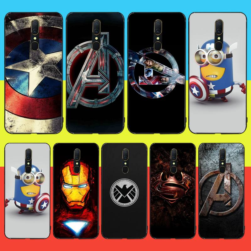 CUTEWANAN Marvel Captain America Iron Man Soft black Phone <font><b>Case</b></font> For <font><b>Oppo</b></font> <font><b>A5</b></font> A9 <font><b>2020</b></font> Reno Z Realme5Pro R11 <font><b>case</b></font> image