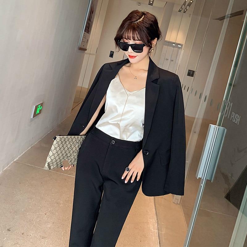 Fashion Professional Women's Suit Pants Suit Large Size XL-5XL Aew Autumn Slim Jacket Suit Female Wild Trousers Two-piece Set