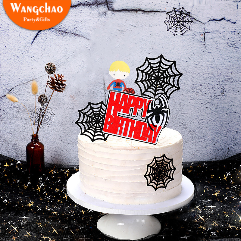 Spider Webs Spider Super Hero Party Theme Happy Birthday Cake Topper Boys Kids Favors Party Supplies Cake Decoration