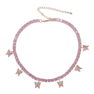 Image 5 - gold color iced out bling hip hop women charm jewelry geometry Heart arrow cz tennis chain with cz butterfly choker necklaces