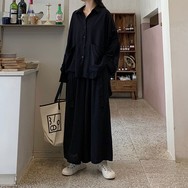 Women 2 Piece Set Long Sleeve Casual  Pockets Loose Large Pants Suit Solid Black 4