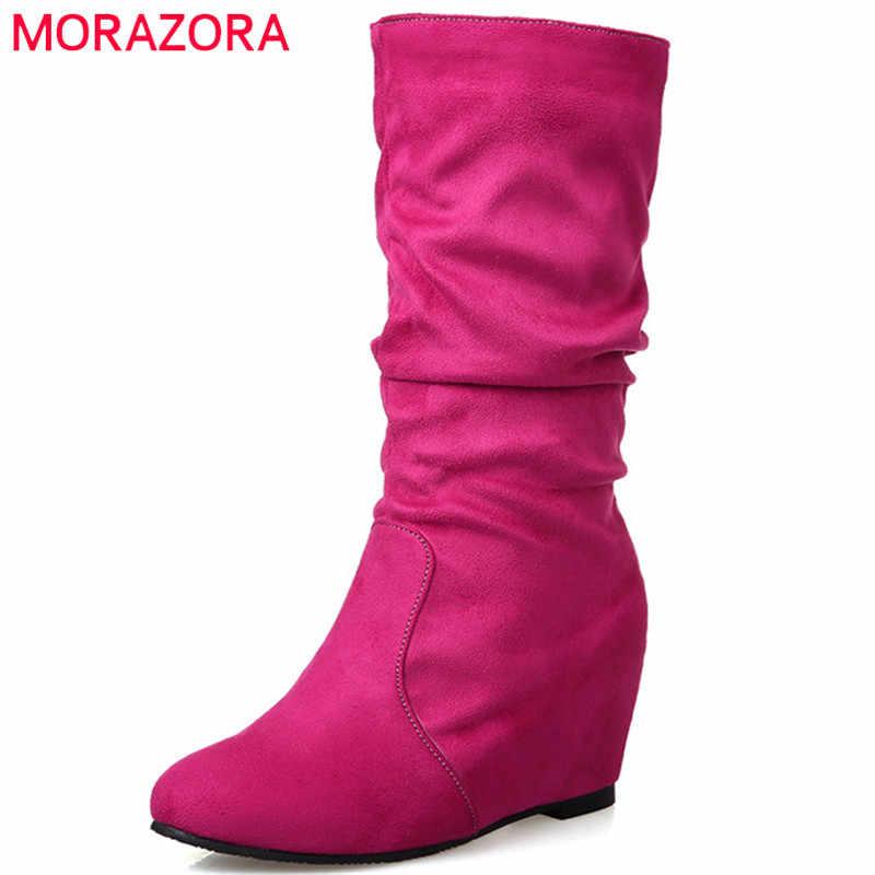 MORAZORA 2020 yeni varış orta buzağı çizmeler kadınlar katı renkler sonbahar kış çizmeler basit rahat takozlar ayakkabı kadın büyük boy 43