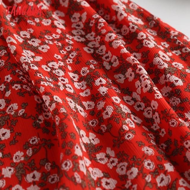 Tangada Women Red Flowers Chiffon Dress Sleeveless Backless 2021 Summer Fashion Lady Dresses 6D98 4