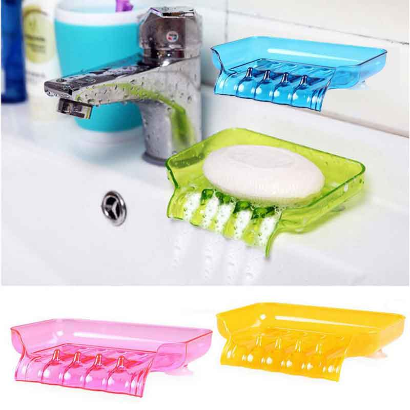 Colorful Flexible Waterfall Soap Holder Tray Drain Holder Bathroom Shower Soap Dish Tray Storage Four Color For Choose