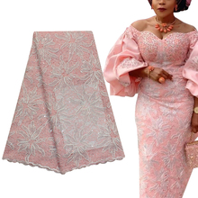 Bestway Luxury French Net Sequin African Lace Fabric 5 Yards High Quality Rope Embroidery Nigerian Gown Tailoring Lace Materials