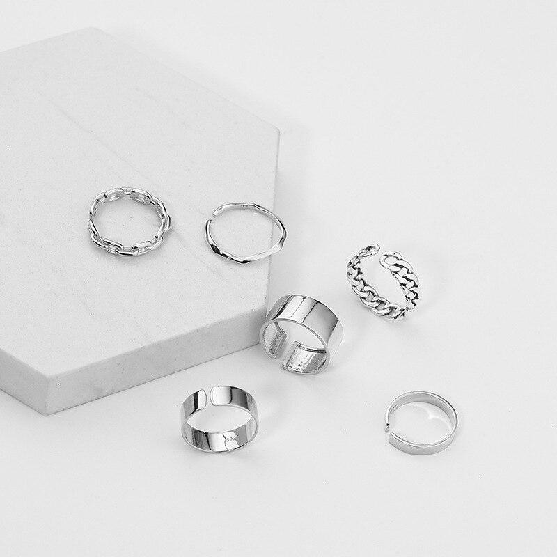 XIYANIKE 925 en argent Sterling coréen large mince chaîne anneau femelle INS Simple à la main ouverture Index doigt mode bijoux Couple 6