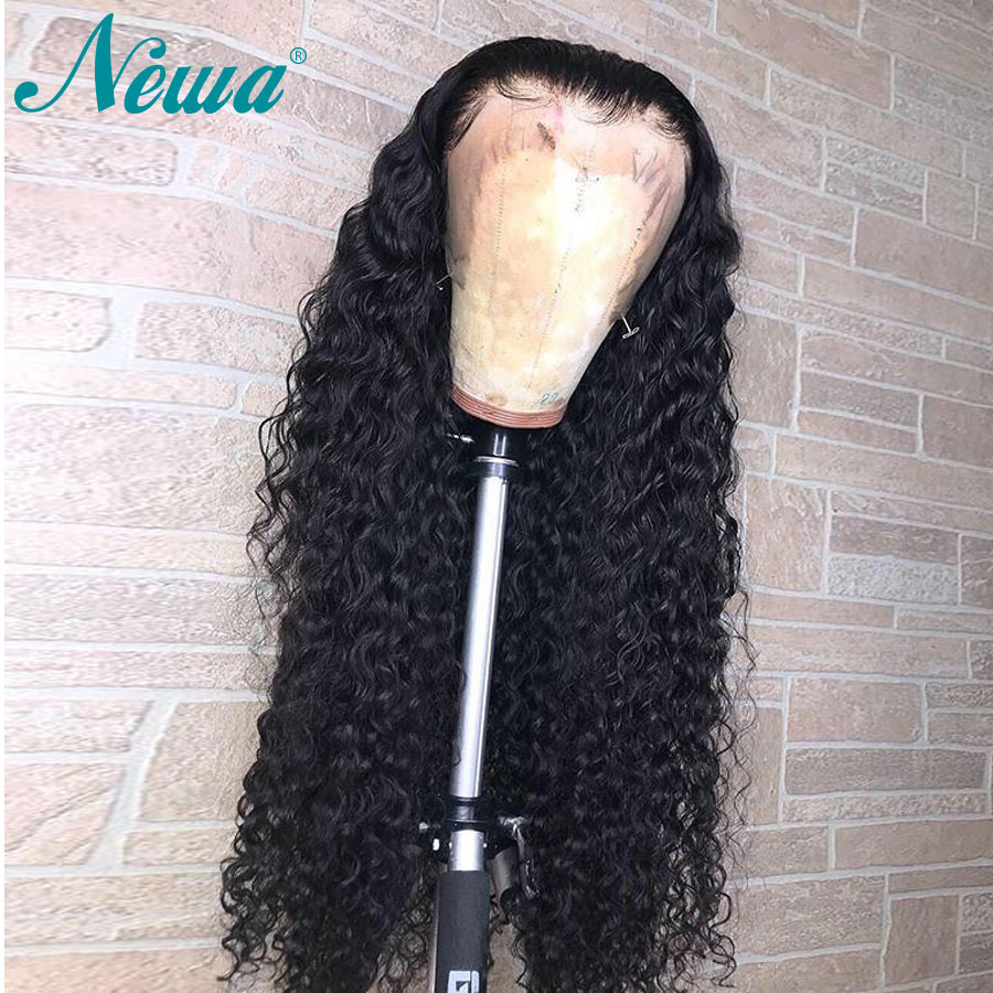 Newa Hair 360 Lace Frontal Wig Pre Plucked With Baby Hair Brazilian Remy 180% Curly Lace Frontal Human Hair Wigs For Black Women