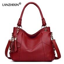 Lanzhixin Frauen Leder Handtaschen Frauen Messenger Taschen Designer Umhängetasche Frauen Tote Schulter Tasche Top griff Taschen Vintage 518
