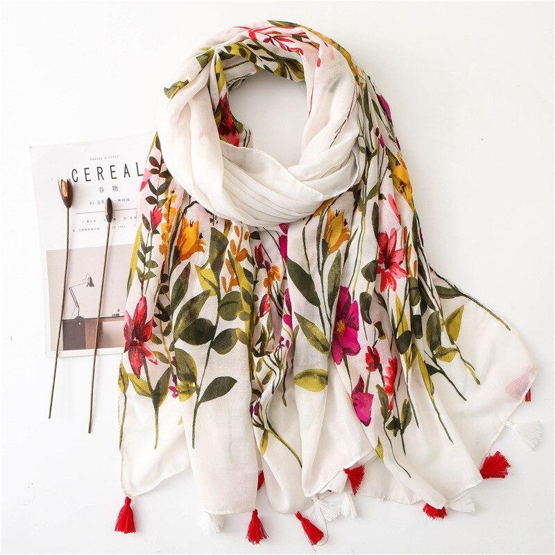 Sparsil Women Spring Cotton Tassel Shawl Floral Voile Korean Style Long Pashmina Wrap Thin Sun Protection Summer Soft Scarf