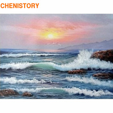 CHENISTORY Frame Diy Painting By Numbers Wave Seascape Modern Wall Art Picture By Numbers Kit Home Decoration Coloring By Number