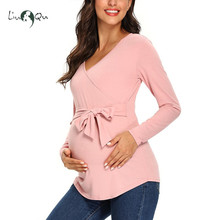 Women's Maternity Tops Long Sleeve Breastfeeding Tunic Blouses V Neck Casual Cute Comformation Pregnancy Blouse Shirts