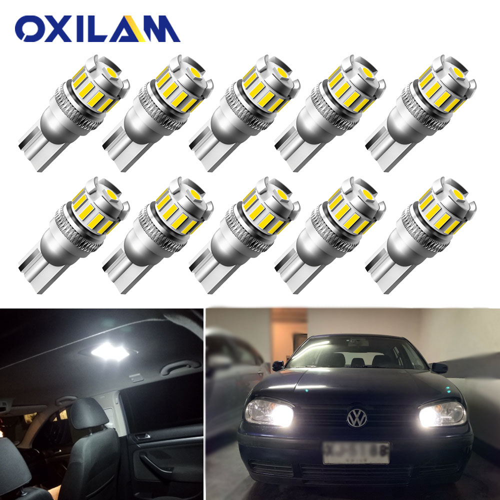 10Pcs T10 W5W <font><b>LED</b></font> Error Free Sider Marker Clearance <font><b>Lights</b></font> for <font><b>VW</b></font> Passat CC b5.5 Bora Jetta Tiguan Touareg Touran <font><b>T5</b></font> T4 T6 Caddy Sharan Interior Lamp for Car 3030 SMD 12V image