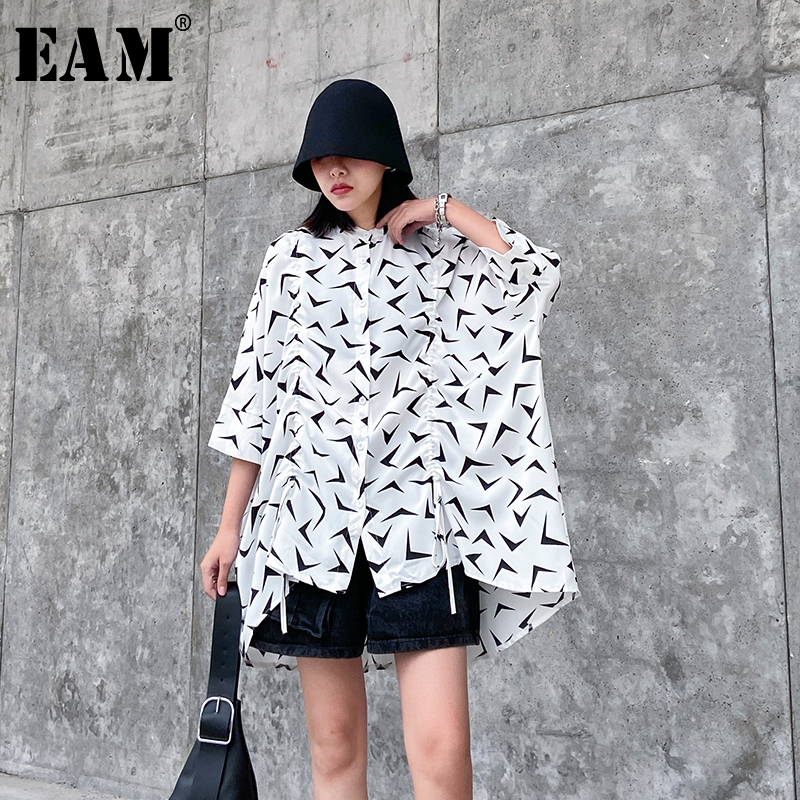 [EAM] Women Pattern Printed Big Size Chiffon Blouse New Lapel Three-quarter Sleeve Loose Shirt Fashion Spring Summer 2020 1T568