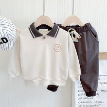 цена на 2020 new cotton boy clothes suit baby spring clothes fashion jacket pants baby suit boy Polo shirt two-piece suit