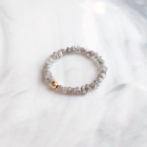 Lii Ji Настоящее серое кольцо с необработанными алмазами камень для родившихся в апреле американских 14K GF бисера кольцо ручной работы мужской ...