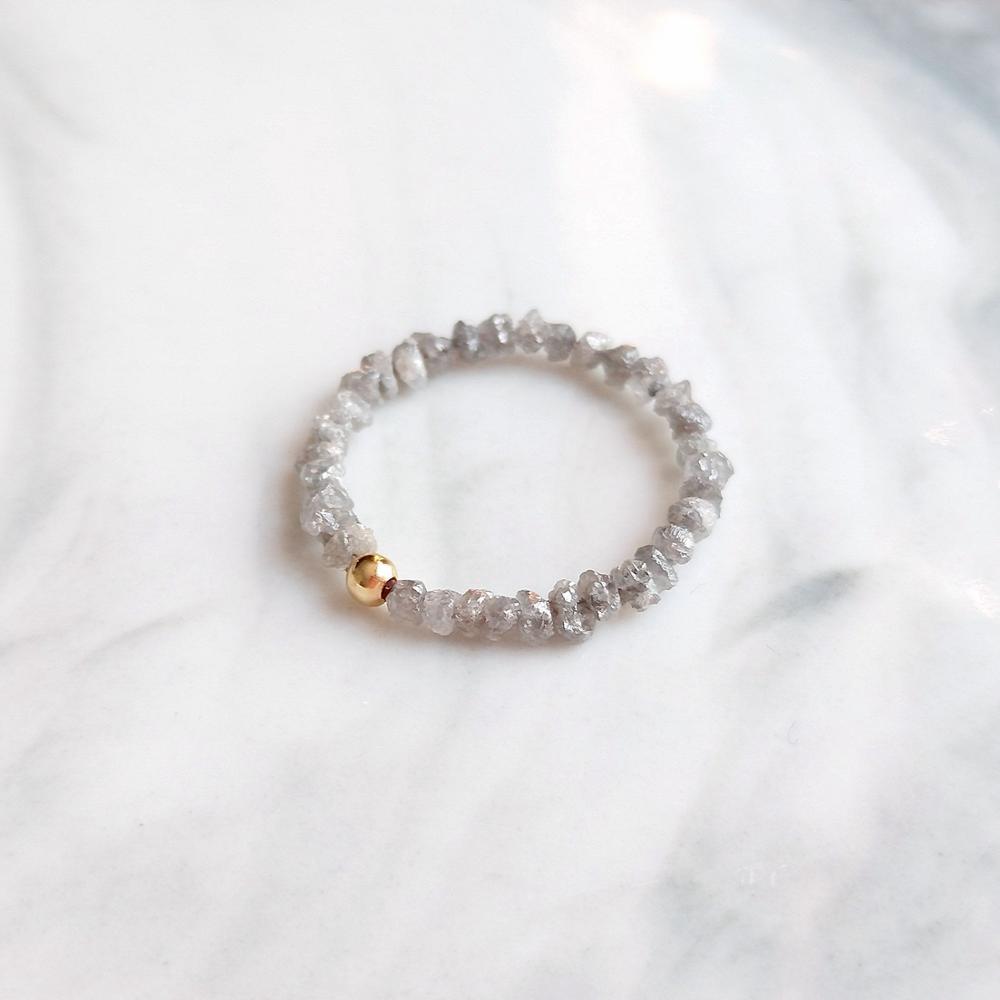 Lii Ji réel gris brut diamant bague avril pierre de naissance américain 14K GF perle fait à la main anneau mâle femme saint valentin cadeau