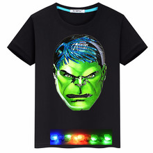 Children T-shirt for Boy Short Sleeve Kids Clothes With Cartoon Hulk Funny LED light Eyes Cotton Boys T Shirt  Boys Tops