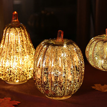 Festival Decoration Pumpkin-Lamp Christmas-Glass Lantern LED Party New-Year Home Props