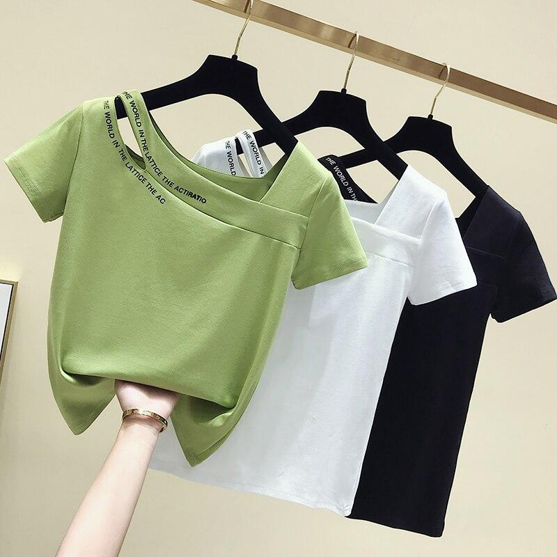 Gkfnmt Summer Cotton  Short Sleeve T Shirt Women Tops Tshirt Korean Style T-shirt Women Clothes Slim Chic Tee Shirt Femme 2020