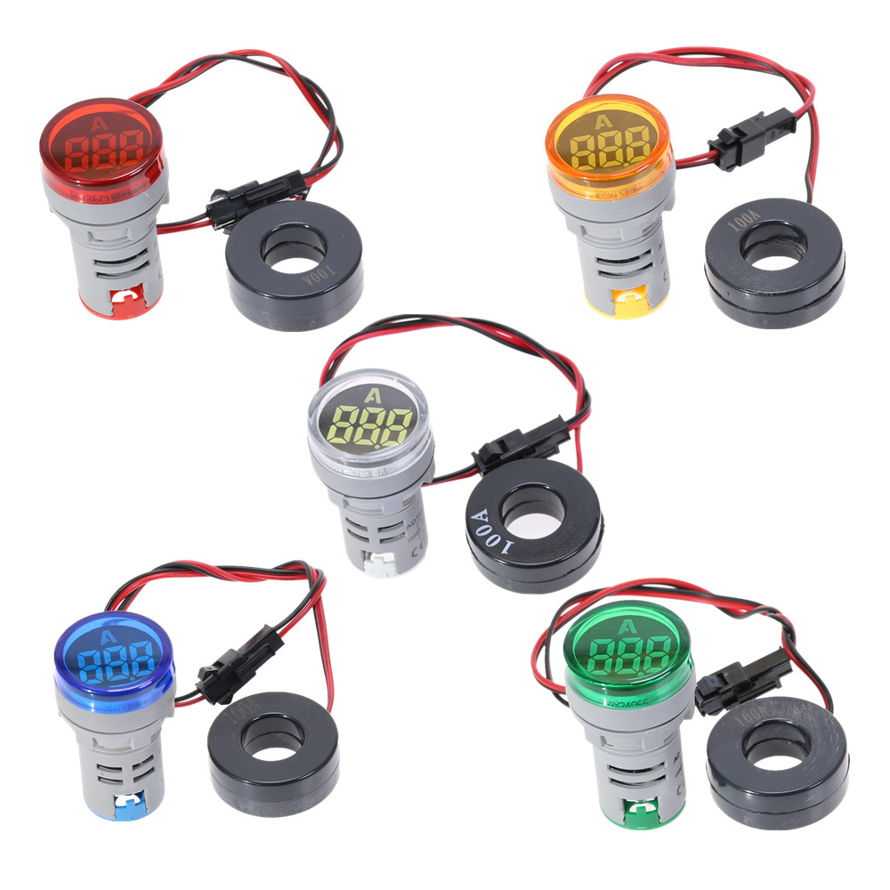 22mm Mini Indicator Led Light Lamp Digital Voltmeter Voltage 20-500V Amp Meter 0-100A AC101-22AM