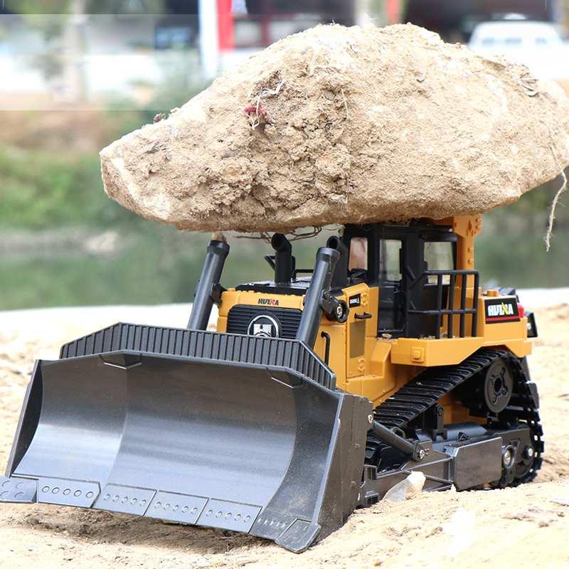 Huina 1569 caminhão de controle remoto 8ch rc bulldozer máquina no controle brinquedos do carro para meninos hobby engenharia novos presentes natal