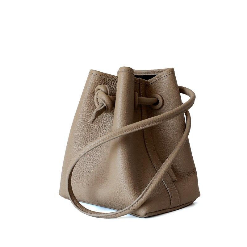 Новинка 2020, сумка-мешок на шнурке, сумка-мешок из воловьей кожи с зернистой текстурой, сумка на плечо, Корейская простая сумка