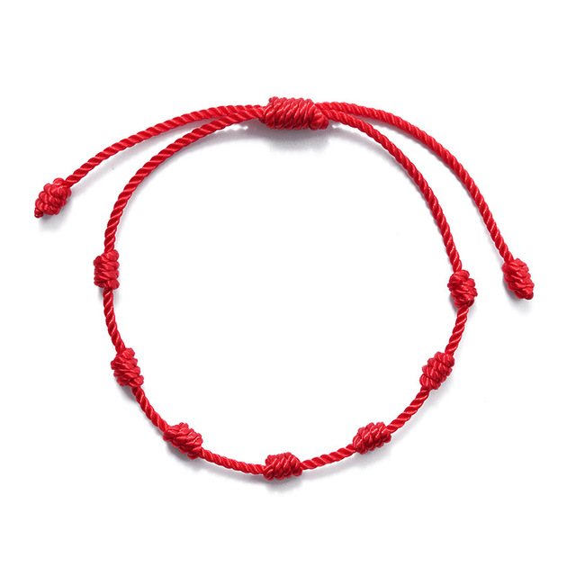 7 Knots Red String Bracelets for Protection Good Luck Amulet for Success Prosperity Handmade Rope Bracelets Lucky Charm Bangles