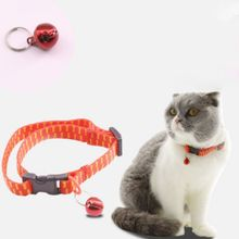 Cat Collar Bell Small Dog Puppy kitten Strap Necklace Flea With Cats Pets Orange