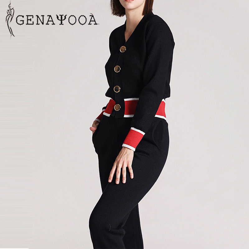 Genayooa Elegant Autumn 2019 Knit Tracksuit Women Casual Knitted Two Piece Set Top and Pants  2 Piece Set Female Korean