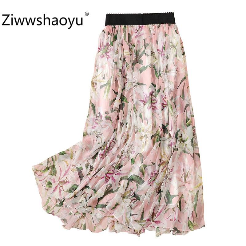 Ziwwshaoyu Women Summer Pink lily Flower Printed Chiffon Midi  Skirt Comfortable Elastic Waist Casual Female