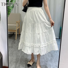 TIGENA White Tiered Midi Long Skirt Women Fashion 2021 Korean Cute Elegant Solid A Line High Waist Mid-length Skirt Female Lady
