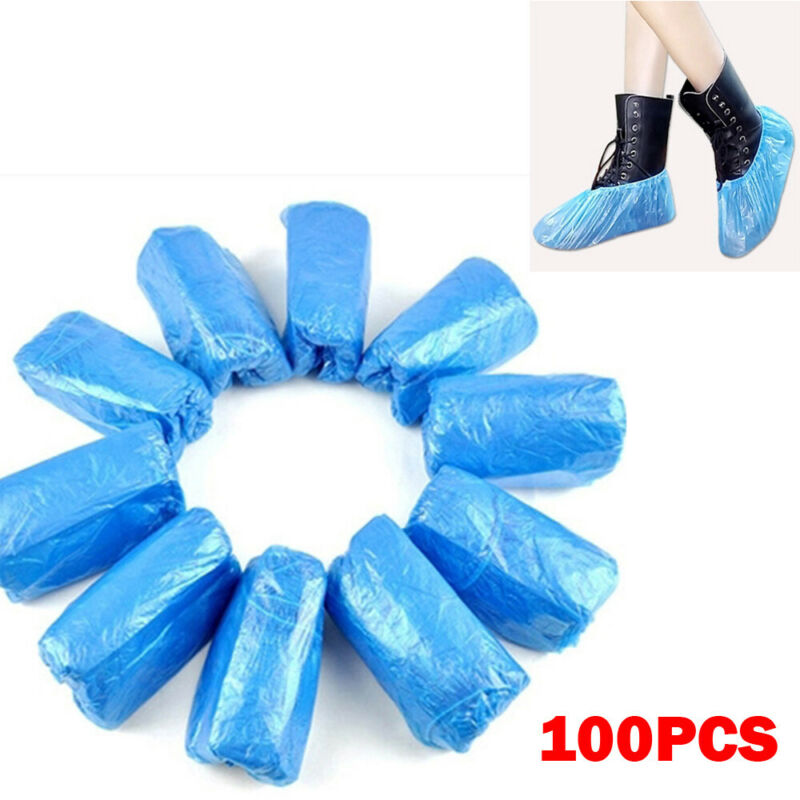 100Pcs Plastic Waterproof Disposable Shoe Covers Rainy Day Carpet Floor Protector Thick Cleaning Shoe Cover Blue Overshoes 2020