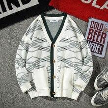 Cardigan Men Fashion Print Casual Pocket Sweater Jacket Sman Streetwear Wild Loose Long Sleeve Male Large Size M-5XL