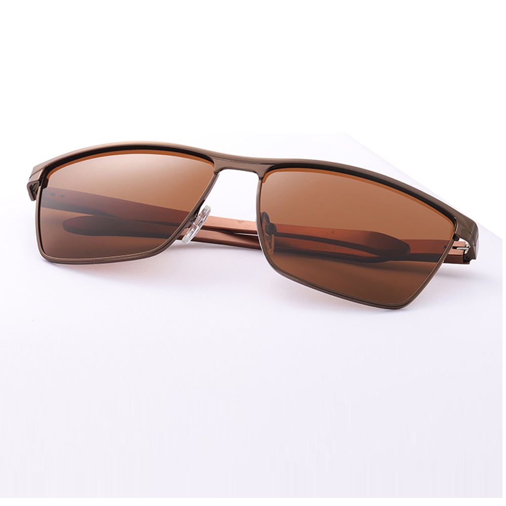 Polarized Sunglases Rectangle Frame UV400 Men with Box Metal Brown/siliver Come New 3-Colors
