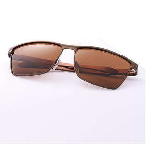 Men Polarized Driving-Glasses Rectangle Brown/siliver Frame UV400 with Box Metal Come