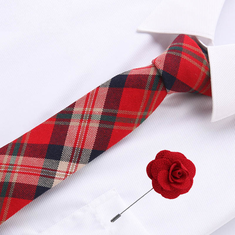 6.5cm Mens Business Cotton Tie Formal Red Plaid  Jacquard Wedding Necktie Narrow Classic & Flower Pin