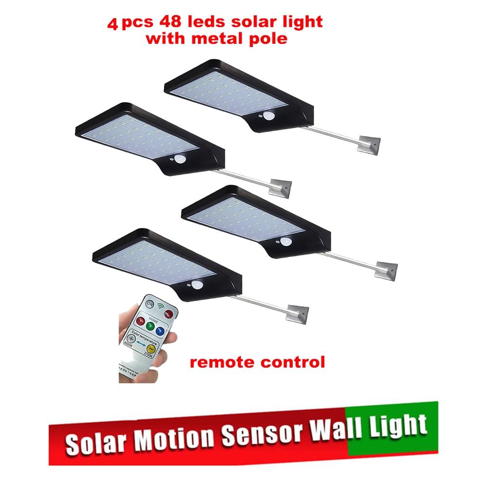 2/4pcs Solar Wall Light 48 LEDs PIR Motion Sensor Nightlight Solar Lamp For Outdoor Garden Street Yard Path Sound Control Securi