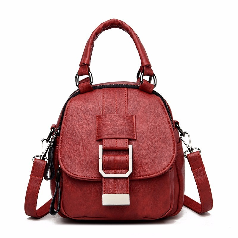 High Quality Female Multifunction Leather Backpacks 2019 Women Mini Backpack Solid Sac A Dos School Backpack For Teenager Girl