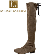 KATELVADI Thigh High Boots Women Winter Brown Flock Over The Knee  2CM Square Heels Fashion Shoes K-524