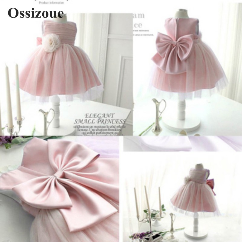 Pink Ball Gown Flower Girls Dresses 2020 O-Neck Tulle First Communion Dress Baby Girl Pageant Dress Kids Party Gowns ESAN437