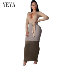 YEYA Women Sexy Open Chest Bodycon Dress Long Sleeve Patchwork Vintage Maxi Pencil Autumn Hollow Out Party Dresses