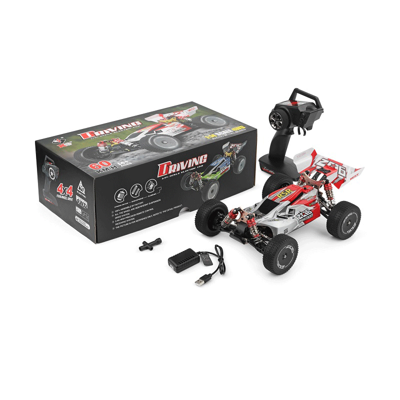 WLtoys 144001 1/14 2.4G Racing Remote Control Car Competition 60 km/h Metal Chassis 4wd Electric RC Formula Car USB Charging 6