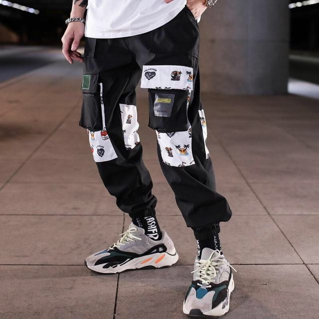 Hip Hop Ribbons Cargo Pants Men Joggers Pants Streetwear Men 2020 Fashion Mens Elastic Waist Pant Ribbons Cotton Black W117 4