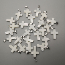 Atacado Cruz moda Natural shell Pingentes para fazer jóias charme diy colar acessórios 36 pçs/lote