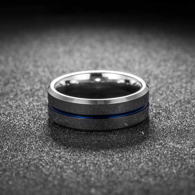 ZORCVENS Thin Blue Line แหวนสแตนเลสจัดงานแต่งงานแบรนด์ 8 มม.สีเงินสแตนเลส Punk แหวนผู้ชายเครื่องประดับ