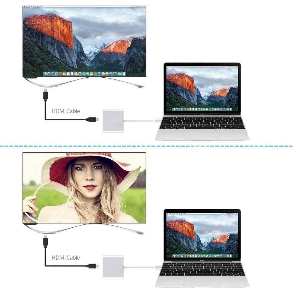 مهايئ Usb C HDMI USBC من Rovtop إلى HDMI 3.1 مهايئ من النوع C إلى DMI/USB 3.0/Type C مهايئ من الألمونيوم من النوع C لأجهزة Apple Macbook