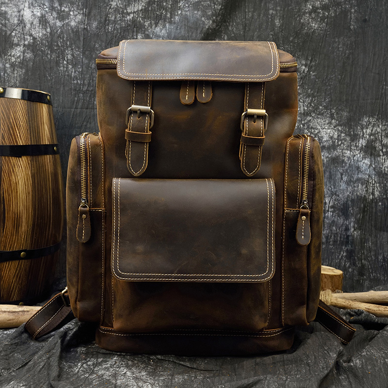 MAHEU Crazy Horse Leather Men Backpack Soft Cow Skin Vintage Men's Genuine Leather Travel Weekend Bag Outdoor Backpack Big Size