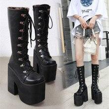 """PXELENA/в японском стиле «панк» на толстой платформе в армейском стиле ботинки для костюмированной вечеринки Для женщин на не сужающемся книзу квадратном массивном каблуке в стиле «хип-хоп» в готическом стиле сапоги до колена ботинки """"Харадзюку"""""""
